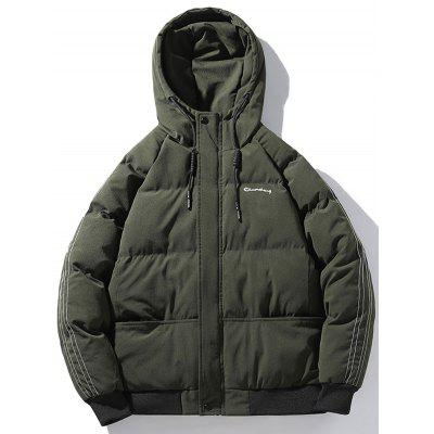 Męska bluza z kapturem Ciepła Parka Proste Solid Color Winter Coat