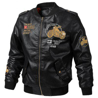 Men Zipper bordados Letters Jacket + Brasão Motorcycle Moda Zipper