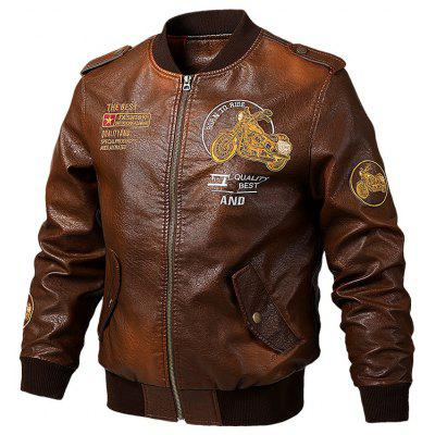 Men's Zipper Embroidered Jacket Letters + Motorcycle Fashion Zipper Coat