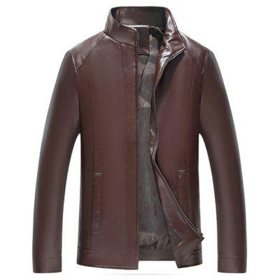 Men Stand Collar Motorcycle Jacket Tide Solid Color Coat with Pockets