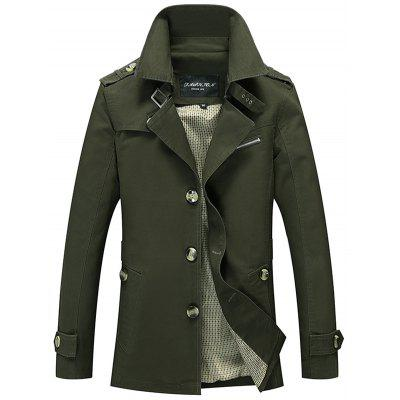 Men's Outdoor Lapel Jacket Button-down Long Trench Coat Fashion