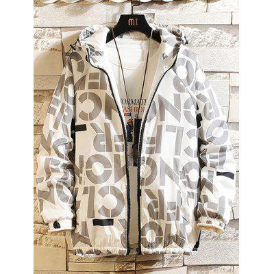 Mannen Winter Letters Printed Parka Loose Fashion Casual Jacket