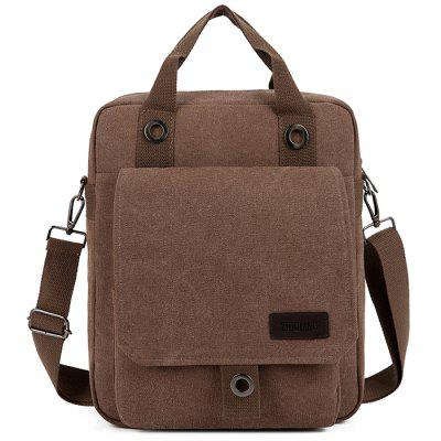 Men's Fashion Patchwork Canvas Crossbody Bag Large Capacity Minimalist Backpack