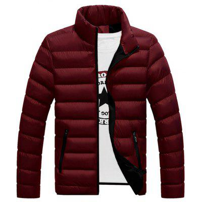 Men's Autumn Winter Warm Stand Collar Parka Stylish Cotton Jacket