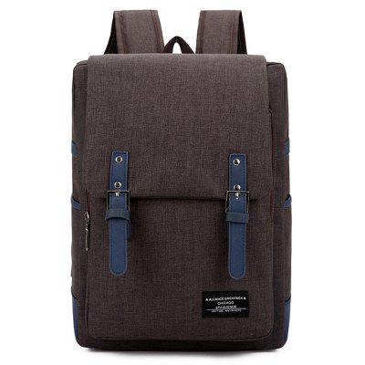 Men's Double Pin Buckle Simple Backpack Leisure Computer Bag