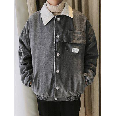 Men's Lapel Buttons Jacket Furry Tooling Coat