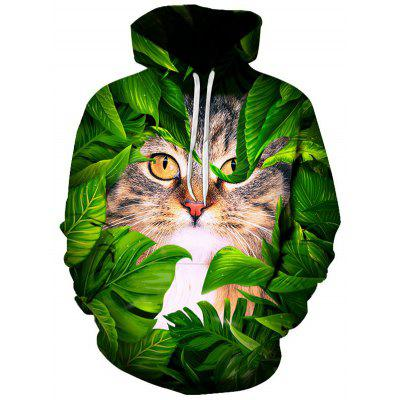 Men Christmas Series Cat Hoodie 3D Printing Pullover Sweater