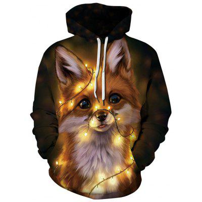 Men's Fashion Animal Cat Printing Hoodie Loose Sweater Pullover Hooded Top