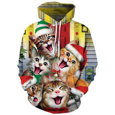 Men's Fashion Animal Cat Printing capuchon Loose Sweater Hooded Top