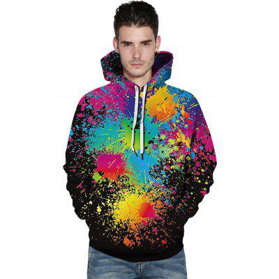 Masculin 3D Color Pictura Hoodie Imprimare Pulover Loose Hooded Top