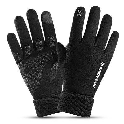 Men Slip Resistant Touch Screen Gloves Outdoor Warm Windproof Night Reflective Mittens