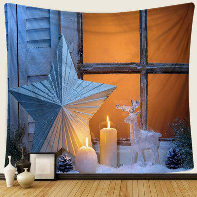 Christmas Star Candle Creative Home Decoration 3D Digital Printing Hanging Decorative Art Wall Tapestry Cloth Background