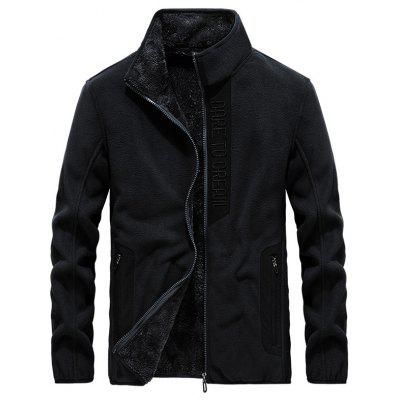 Men's Patchwork Fashion Stand Collar Coat Warm Winter Furry Lining Top