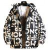 Men's Winter Letters Printed Parka Loose Fashion Casual Jacket - BLACK