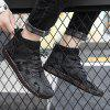 Men's Retro Print Casual Shoes Durable Lace Up Shoes - BLACK