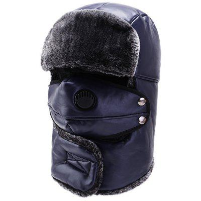 Men's PU dikke warme Bomber Hat Classic Winter Cap
