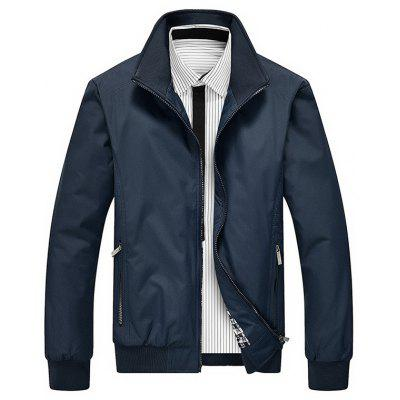 Men's Fashion Simple Stand Collar Jacket Solid Color Long-sleeved Coat Zipper Pocket
