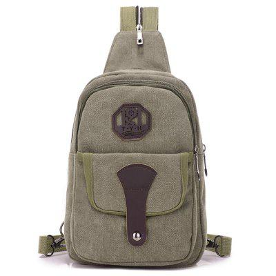 Man Retro Durable Canvas Crossbody Bag Detachable Zipper Shoulder Strap Chest Pack