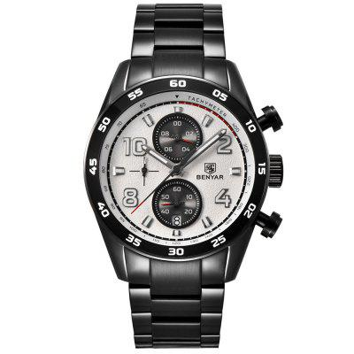 Benyar 5126 Men Two-eye Classic Quartz Watch Business Simple Wristwatch with Calendar