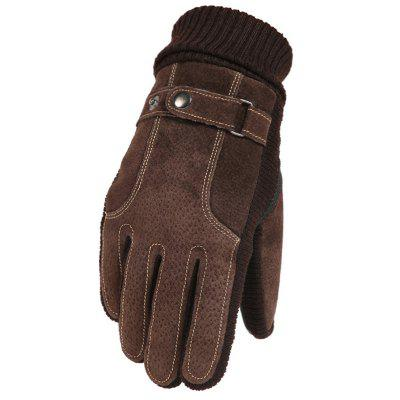 Men's Leather Riding Touch Screen Gloves Warm Windproof Winter Glove