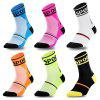 Men's Riding Sports Breathable Crew Socks Patchwork + Letters Print Design - GREEN