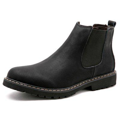 Men Fashionable Chelsea Boots Solid Color Slip-on Tooling Shoes