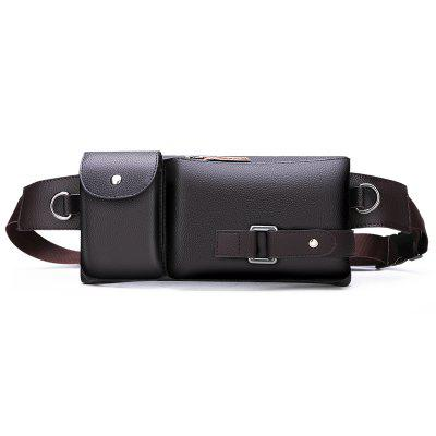 Men's Casual Waterproof Genuine Leather Waist Bag Durable Small Chest Pack