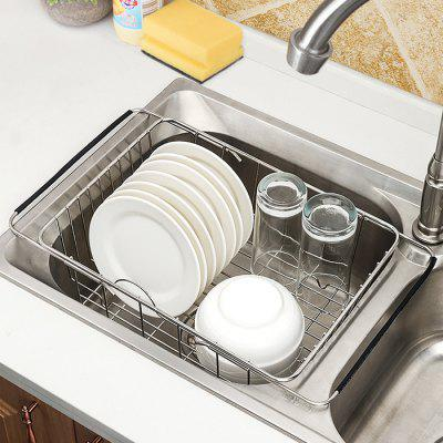 Stainless Steel Retractable Sink Washing Dish Draining Rack Fruit and Vegetable Storage Basket