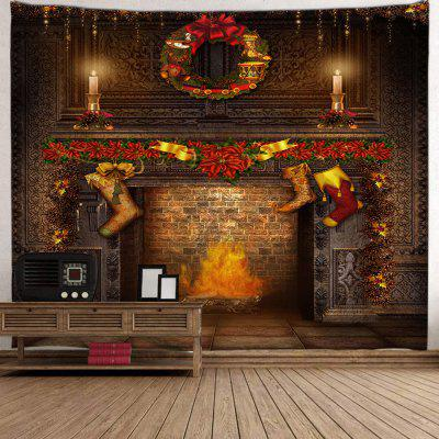 Christmas Hanging Boots Stove Pattern Digital Printing Tapestry