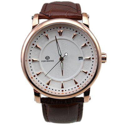 FORSINING Men's Simple Dial Automatic Mechanical Watch Durable Genuine Leather Band