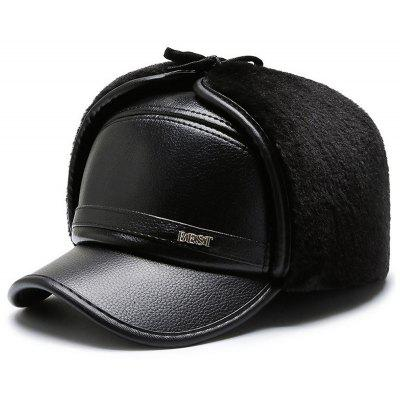 Men PU Woolen Thickening Ear Face Protective Hat Practical Warm Winter Cap