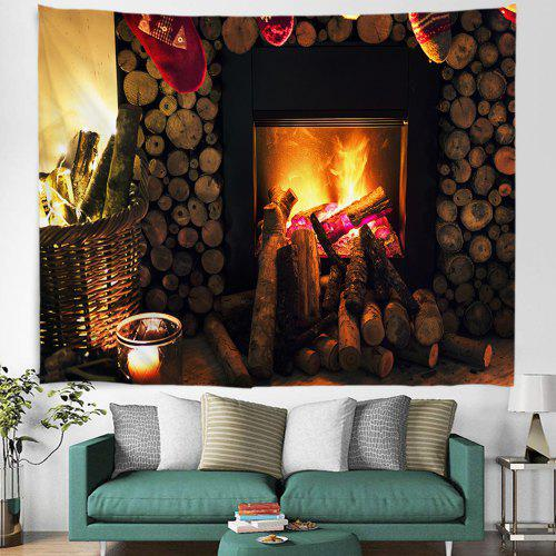 Christmas Stove Fireplace Pattern Digital Print Tapestry Hanging