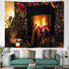 Christmas Stove Fireplace Pattern Digital Print Tapestry Hanging Cloth - MULTI-A