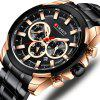 CURREN 8361 Men's Business Six-pin Watch Calendar Waterproof Stainless Steel Band Quartz Wristwatch - BLACK