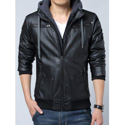 Men's Casual Hooded Leather Jacket Slim Patchwork Coat