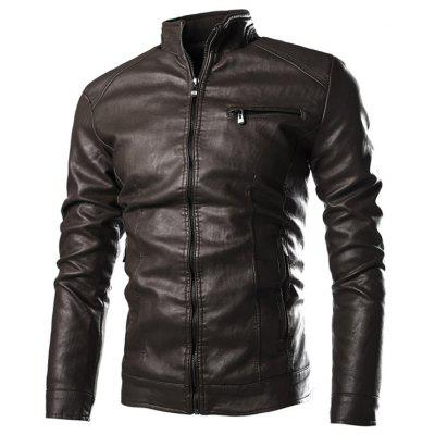 Men's Washed Leather Jacket Solid Color Zipper Stand Collar Coat Fashion