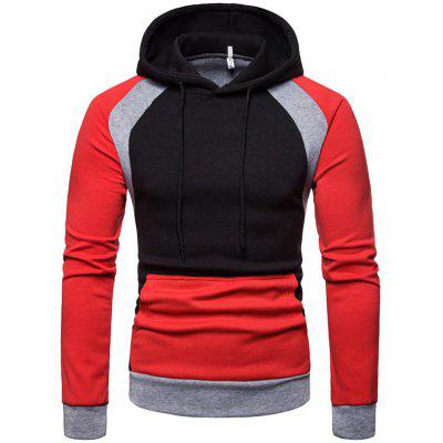 Men Thickening Color Block Hoodie Casual Hooded Pullover