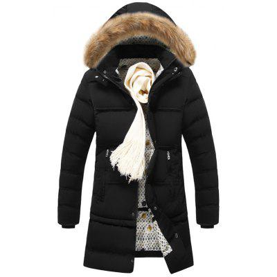 Men Detachable Fur Collar Hooded Long Parka Warm Comfortable Winter Coat