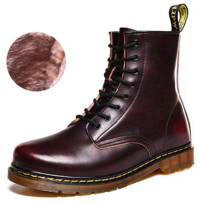 AIALDUN Men cowskin Warm Retro Boots Rub Color Design neklouzavou obuv