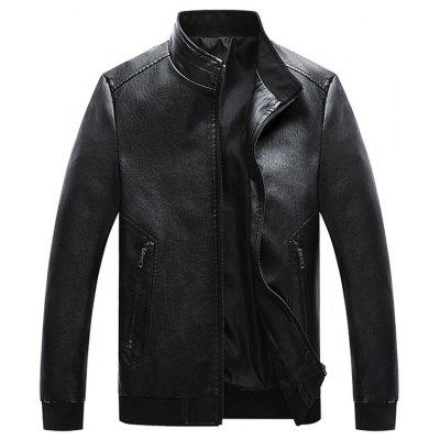 Men Simple PU Leather Jacket Retro Stand Collar Top Zipper Pocket