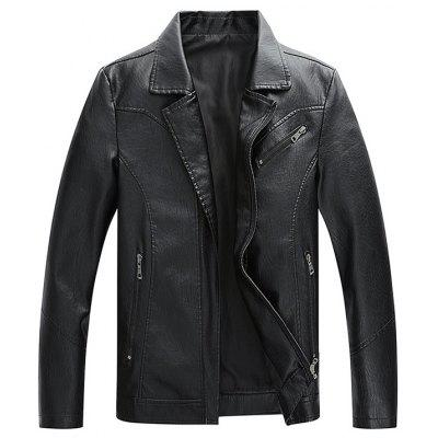 Men Lapel Solid Color PU Leather Jacket Classic Fashion Top