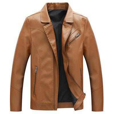 Men Revers Solid Color PU Leather Jacket Classic Fashion Top