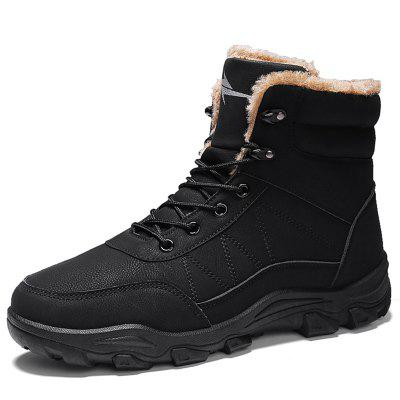 AILADUN Men Thick Winter Slip Resistant Boots Lace Up Warm Shoes