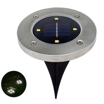 4 LEDs Solar Ground Light Stainless Steel Outdoor Garden Lamp