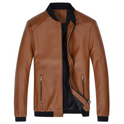 Veste d'Affaires en Cuir PU Confortable Simple pour Homme