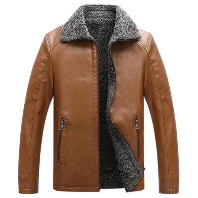 Male Plus Velvet inverno quente Leather Jacket Moda Casual Top