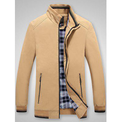 Men Stand Collar Washed Jacket Solid Color Business Top Plaid Lining