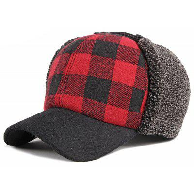 Men's Thick Warm Plaid Ear Protective Hat Fashion Baseball Cap