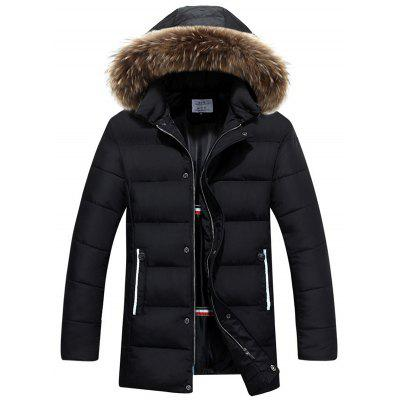 Men's Fashion Solid Color Bonthoed Hooded Parka Winter warme jas