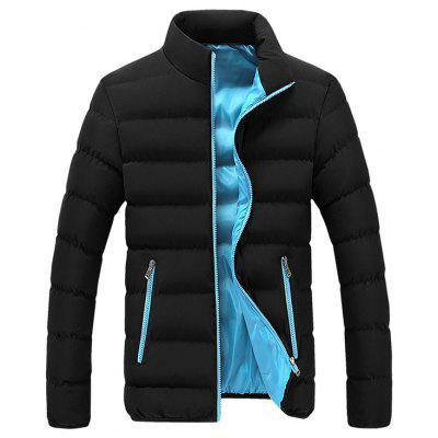 Men's Fashion Patchwork Stand Collar Parka Fashion Lining Warm Coat